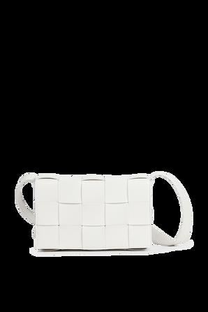 The Cassette Shoulder Bag in White BOTTEGA VENETA