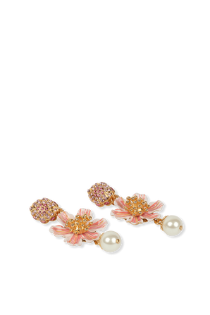 Leverback Earrings With Hand-Painted Flower DOLCE & GABBANA