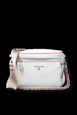 Slater Medium Logo White Nonograma Sling Pack With Pink Details MICHAEL KORS