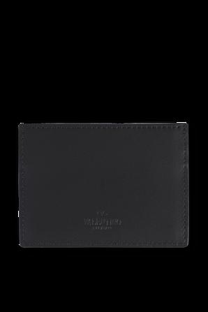 VLTN Leather Card Holder in Black VALENTINO