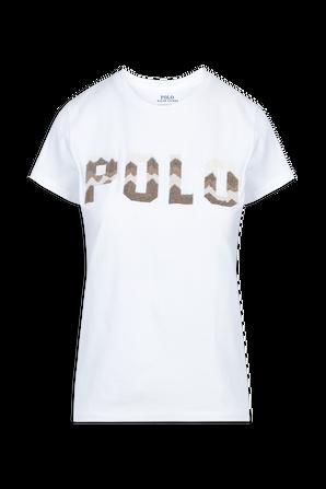 Patchwork Logo T-Shirt in White POLO RALPH LAUREN