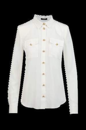 Gold Buttons Silki Shirt in White BALMAIN