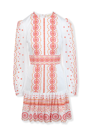 Eyelet Dots Embroidered Midi Dress in White and Orange MICHAEL KORS