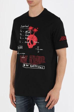 חולצת טי עם לוגו רקום בצבע שחור DIESEL