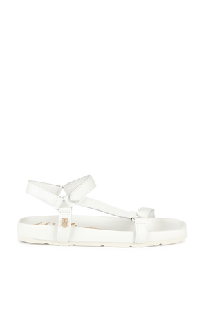 Open Toe Flat Sandals in White TOMMY HILFIGER