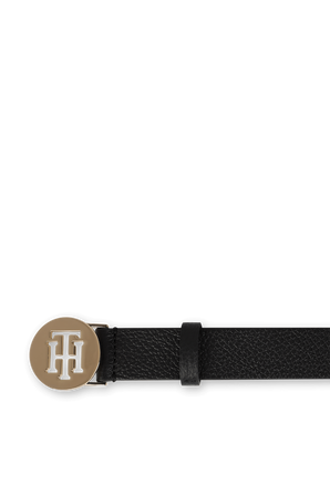 TH Logo leather Belt in Black TOMMY HILFIGER