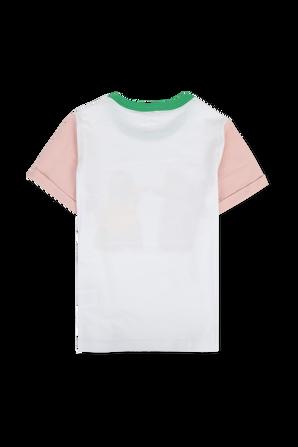 גילאי 2-14 טי שירט פודל לבן עם נגיעות צבע ססגוניות STELLA McCARTNEY KIDS