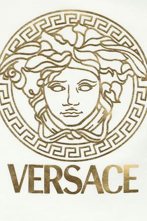 NB-9 חודשים אוברול לבן עם לוגו מוזהב VERSACE KIDS