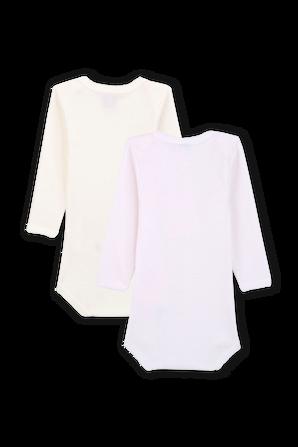 גילאי 3-36 חודשים זוג בגדי גוף עם שרוולים ארוכים בורוד ולבן PETIT BATEAU