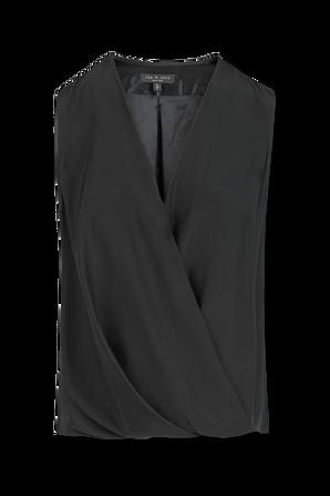 Victor Sleeveless Wrap Blouse In Black RAG & BONE