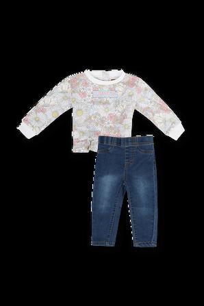 גילאי 3-9 חודשים מארז חולצה פרחונית ומכנסי ג'ינס בשטיפה כהה LEVI`S KIDS