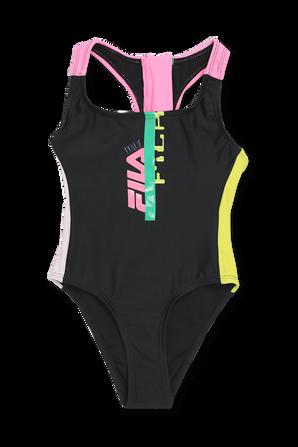 גילאי 6-24 חודישם בגד ים שלם בשחור עם לוגו FILA