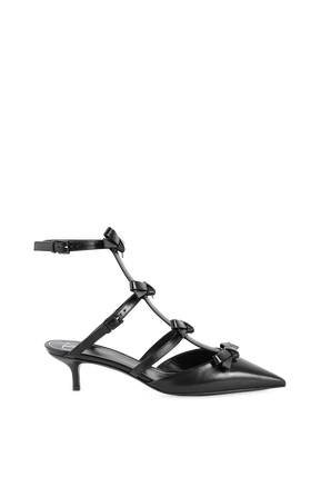 Ankle Strap Pump With French Bows in Black VALENTINO GARAVANI