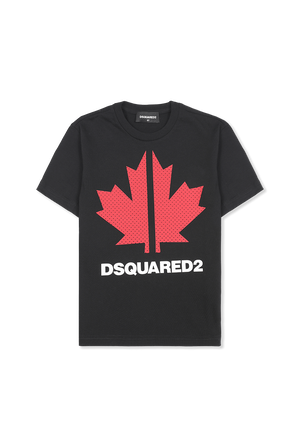 גילאי 4-16 חולצת טי עם הדפס עלה מייפל בשחור DSQUARED2 KIDS