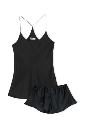 Woven Printed Camisole and Panty Set in Jet Black Core OLIVIA VON HALLE