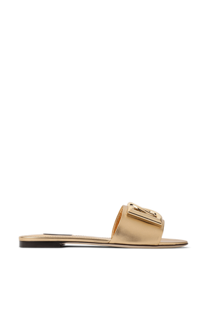 Leather Mordore Sliders With Logo in Gold DOLCE & GABBANA