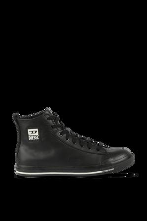 Logo Patch Sneakers in Black Leather DIESEL