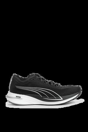 Deviate Nitro Running Shoes in Black and White PUMA