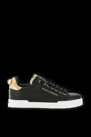 Calfskin Nappa Portofino Sneakers With Lettering DOLCE & GABBANA