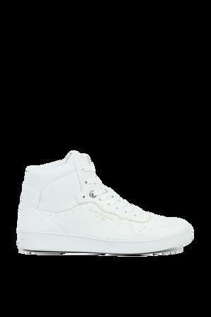 נעלי סניקרס גבוהות מעור בגוון לבן TOMMY HILFIGER