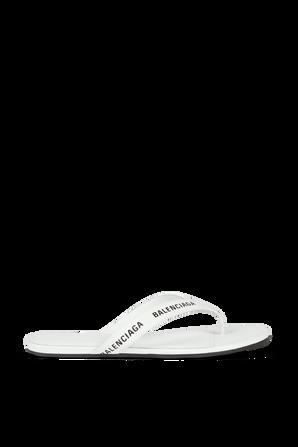 Allover Logo Round Thong Sandal in White BALENCIAGA