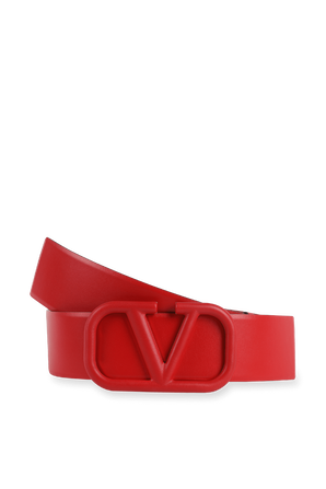 V Logo Signature Belt in Red Glossy Leather VALENTINO
