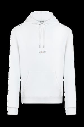 Saint Laurent Logo Hoodie in White SAINT LAURENT