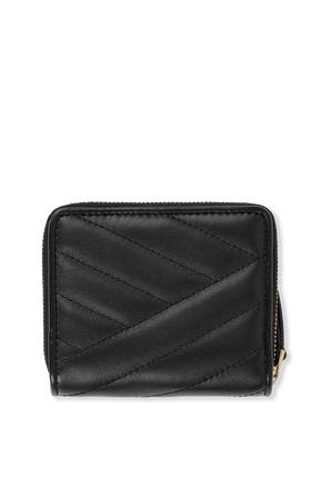 Kira Chevron Bi Fold Wallet in Black TORY BURCH