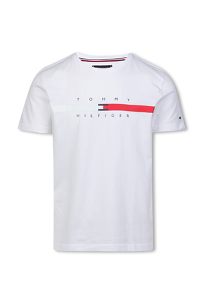 Signature Tape logo T-Shirt in White TOMMY HILFIGER