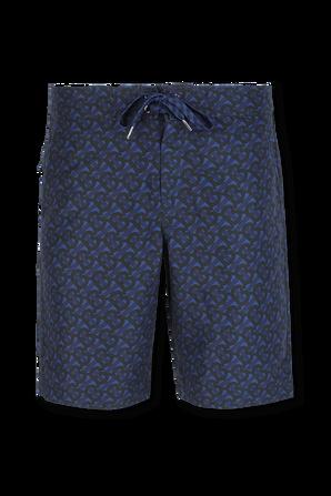 מכנסיים קצרים עם דוגמה מונוגרמית בגווני כחול ושחור BURBERRY
