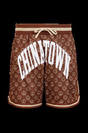 Smiley Cabana Mesh Basketball Shorts in Brown CHINATOWN MARKET