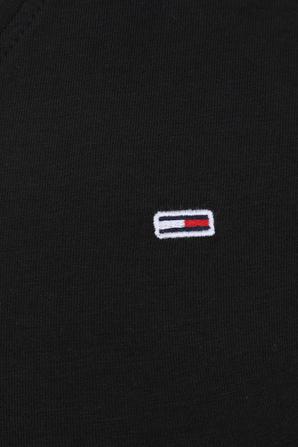 חולצת טי עם צווארון וי בצבע שחור TOMMY HILFIGER