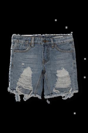 גילאי 4-14 מכנסי ג'ינס קצרים בכחול עם קרעים FILA