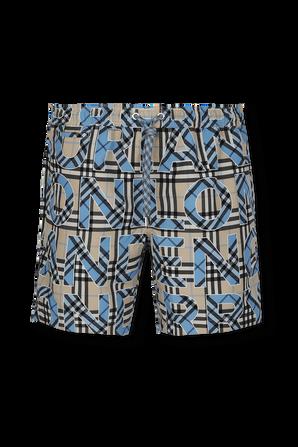 Martin Check Drawcord Swim Shorts in Blue BURBERRY