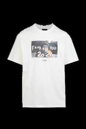 Kevin Print Tshirt in White THROWBACK