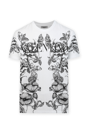 חולצת טי עם הדפס פרחוני בצבע לבן VALENTINO