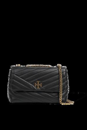 Kira Chevron Small Shoulder Bag in Black TORY BURCH