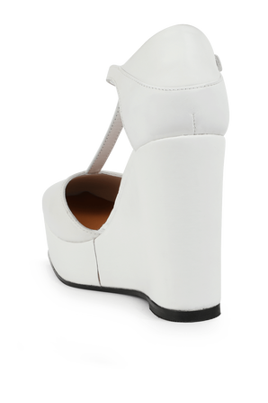 Leather High Wedges In White TOMMY HILFIGER