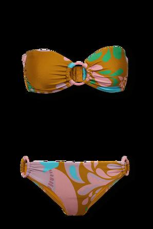 Teddy Double Ring Bikini Set  in Mustard Floral ZIMMERMANN