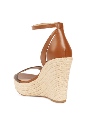 Wedge Leather Sandals in Brown MICHAEL KORS