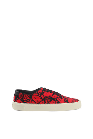 Venice Sneakers in Red Tropical Print Canvas SAINT LAURENT