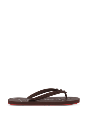 Loubi Flip Flops in Brown CHRISTIAN LOUBOUTIN