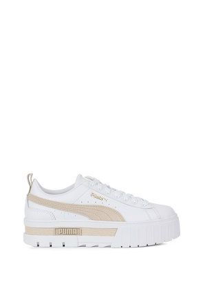 Mayze Leather Sneakers in white and Beige PUMA