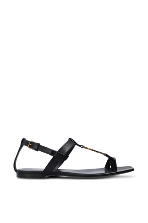 Csaasndra Flat Sandals in Black Leather SAINT LAURENT