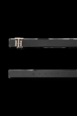 Reversible Monogram Leather Belt In Black And Neutral TOMMY HILFIGER