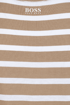 Casual Stripes T Shirt in Blue and White BOSS