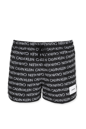 Logo Print Swim Shorts In Black CALVIN KLEIN