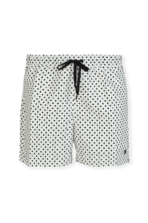 Dots Print Boardshorts in Black and White TOMMY HILFIGER