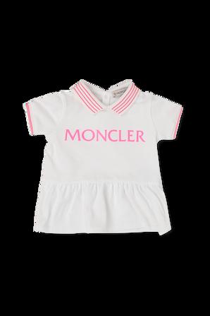 גילאי 3-18 חודשים סט שמלת פולו ומכנסיים בוורוד ולבן MONCLER KIDS
