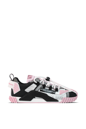 Canvas NS1 Sip-On Patch Sneakers in Black and Pink DOLCE & GABBANA